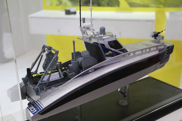 Israeli Company Elbit Systems introduces its Seagull USV (Unmanned Surface Vessel) in the Asian market at MAST Asia 2017, the Defense Maritime/Air Systems & Technologies Exhibition in Tokyo, Japan.