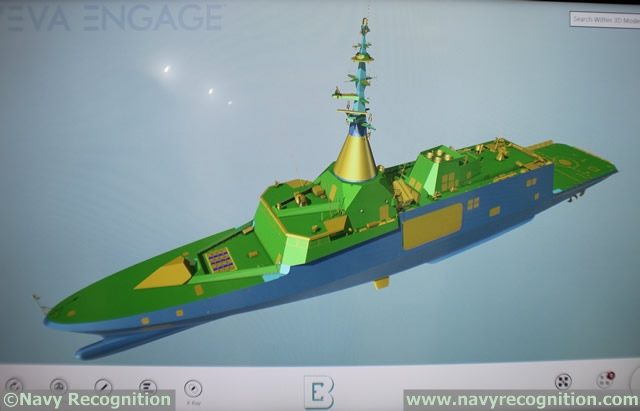 Latest and most up-to-date design preview of the RMN Gowind LCS via the AVEVA database on the Boustead stand during LIMA 2017