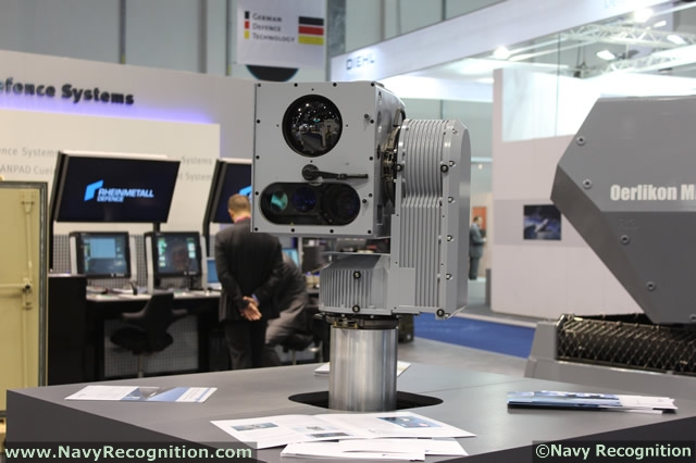 "Rheinmetall has developed a standalone observation and reconnaissance sensor which can be easily mounted to a mast: the high-performance NEOSS, standing for ""naval electro-optical stabilized sensor system"". At IDEX 2013, visitors can take a closer look at this modular, fully digital electro-optical director (EOD)."