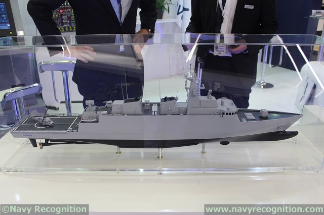 At NAVDEX 2015 naval defense exhibition which was taking place in Abu Dhabi, UAE, last week, Navantia unveiled the F-538 frigate design it is proposing for the Peruvian Navy. Navantia representatives at NAVDEX 2015 told Navy Recognition that this new Frigate design is based on the proven AVANTE 3000/2400 design. This new design incorporates lessons learned in building the Spanish F-100, Norwegian F-310 and Australian AWS destroyers.