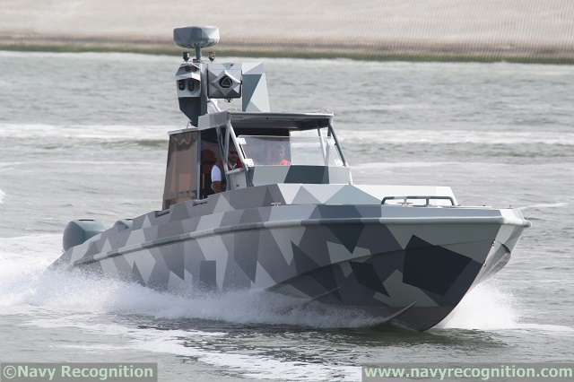 Oto Melara HITROLE G 12.7mm on an Al Fattan Fast Attack Craft during the naval demonstration at NAVDEX 2015.