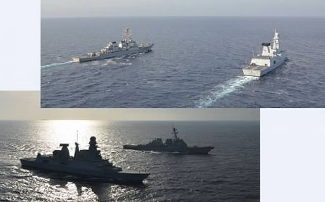 "On December 14th French Navy Horizon-class Air Defense Destroyer ""Forbin"" (D620) and US Navy Arleigh Burke-class guided missile destroyer ""USS Ramage"" (DDG 61) met in the Mediterranean sea (off Lebanon) to conduct several training maneuvers."