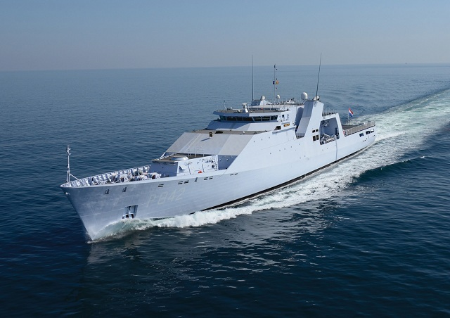 "On Wednesday 11 April, in Harlingen the third of four Holland Class Oceangoing Patrol Vessels, ""Friesland"" built by Damen Schelde Naval Shipbuilding for the Royal Netherlands Navy, was transferred to the Defence Materiel Organization of the Ministry of Defence of the Netherlands."
