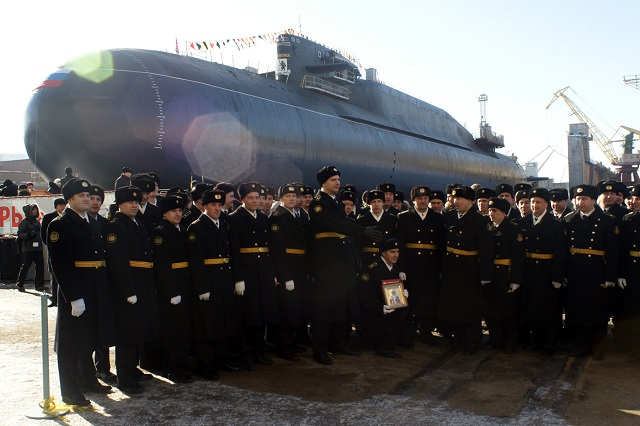 Nuclear-powered ballistic missile submarine (SSBN) Verkhoturye on March 24 was withdrawn from covered slipway of JSC Zvezdochka Ship Repair Center. A solemn ceremony of bringing of strategic nuclear submarine took place at the shipyard for the occasion.