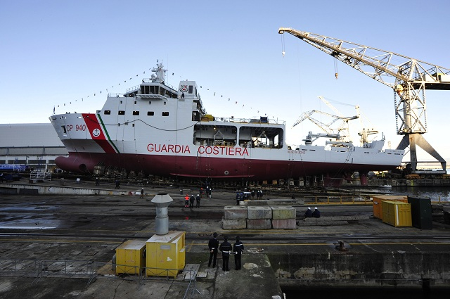 The first of two multi-purpose vessels commissioned from Fincantieri by the General Command of the Port Authority Corp for the Italian Coast Guard was launched today at Castellammare di Stabia (Naples).