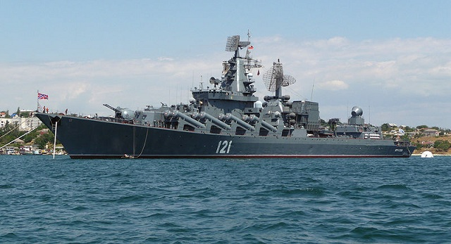 "Project 1164 Atlant class ""Moskva"" cruiser, flagship of the Russian Black Sea Fleet"