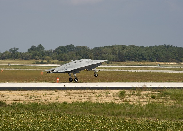 The Navy made Pax River history July 29 after it conducted the naval air station's historic first flight of the X-47B Unmanned Combat Air System (UCAS) demonstrator. At 11 a.m., the tailless, unmanned aircraft launched from Pax River and flew for a planned 35 minutes. The aircraft reached an altitude of 7,500 feet and an air speed of 180 knots during its flight over the Chesapeake Bay before successfully landing back at Pax River.