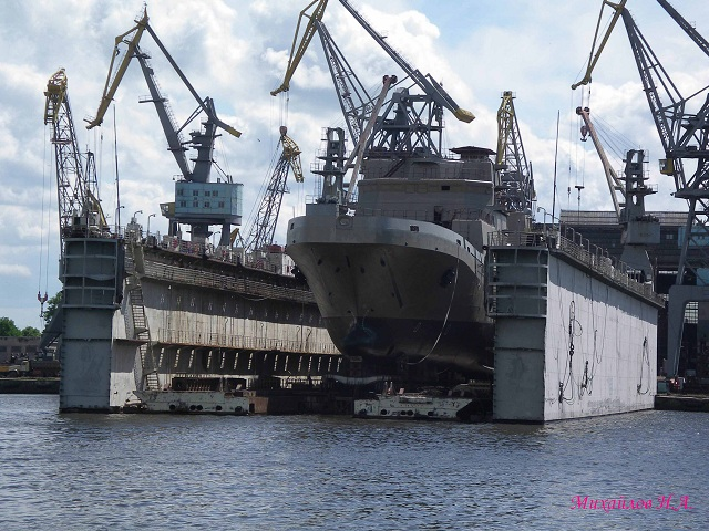 "May 18, 2012 at JSC ""Baltic Shipyard Yantar"" in Kaliningrad, a new large landing ship for the Russian Navy was floated out following an official ceremony. Project 11711 large landing ship of the new generation was designed in the late eighties and nineties. Russian Ministry of Defense April 1, 2004 issued the contract to build Project 11711. The ship's completion is expected by 2013. Plans to build three more ships of the same class are under consideration."