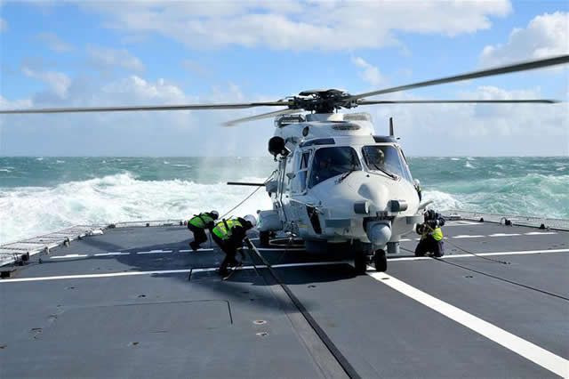 Royal Netherlands Navy crews of the NH90 helicopter and HNLMS Holland Offshore Patrol Vessel conducted deck landings with winds up to Force 8 and waves up to 4 meters high last week in the North Sea.