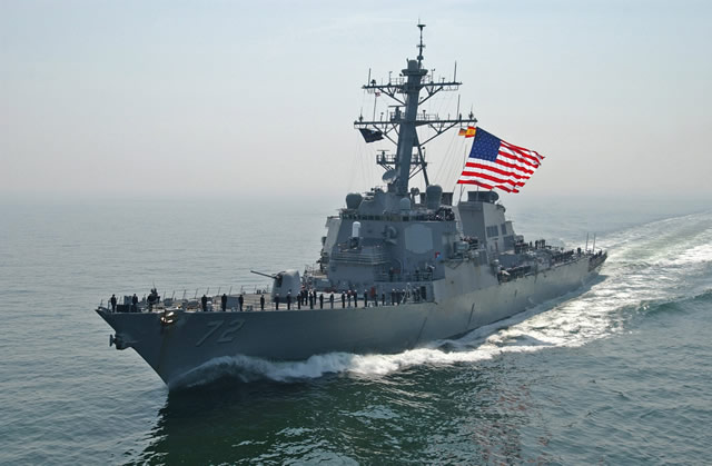 The U.S. Navy has decided to maintain the USS Mahan (DDG-72 Flight II Arleigh Burke-class destroyer) in the Mediterranean. The move aims at strengthenin U.S. Navy presence in the region after new allegations of use of chemical weapons in Syria. USS Mahan was originally to sail back to its home port in Norfolk, Virginia. In total, four Burke class destroyers of the U.S. Navy Sixth fleet are curretly deployed in the Mediterranean waters: USS Gravely, USS Barry, USS Mahan and USS Ramage.