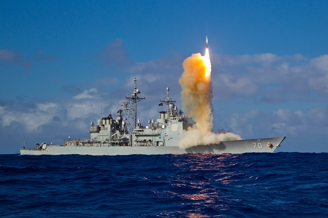 In a Missile Defense Agency test, the U.S. Navy launched two Raytheon Company made Standard Missile-3 Block IBs from the USS Lake Erie against a complex, separating short-range ballistic missile target. The first guided missile successfully destroyed the target using the sheer kinetic force of a massive collision in space.