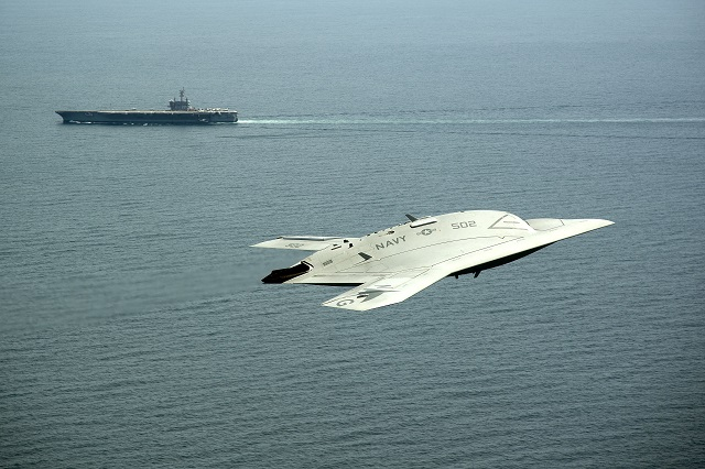The US Navy's X-47B Unmanned Combat Air System (UCAS) demonstrator safely conducted its 100th flight from Naval Air Station Patuxent River, Md.on September 18 2013. The Navy UCAS program successfully completed all objectives for the carrier demonstration phase with the X-47B in July.