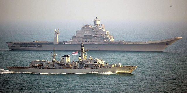 The 4,900 tonne frigate met up with the newest Indian aircraft carrier INS Vikramaditya – weighing in at a massive 45,000 tonnes and helped her safely through the busy English Channel. Originally built for the Russian Navy as a modified Kiev class aircraft carrier, called Baku in 1987, India procured her in 2004 and she was accepted by the Indian Navy in a commissioning ceremony in November 2013.