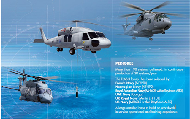 Agusta Westland has selected Thales as the supplier of compact dipping sonars to equip its Lynx light helicopters for export markets. The latest in Thales's FLASH range, the FLASH Compact is designed for smaller and lighter helicopters than those already using the FLASH sonar.