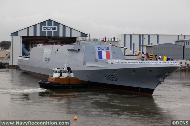 The Normandie FREMM Frigate, second ship of Aquitaine class is launched at DCNS shipyard in Lorient on October 18, 2012
