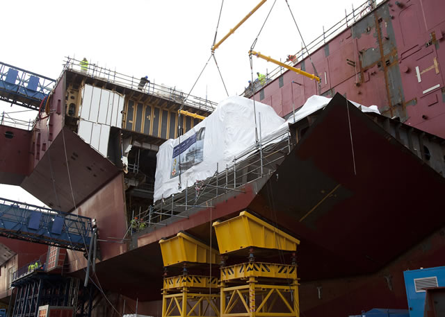 Rolls-Royce, the global power systems company, has this week successfully completed the installation of the first MT30 gas turbine into the Royal Navy's new aircraft carrier HMS Queen Elizabeth, at Babcock's Rosyth shipyard in Scotland.