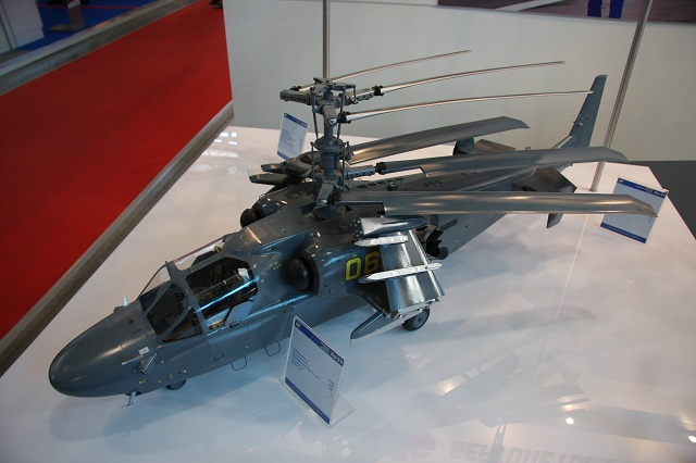 The Ka-52K is a navalised version of the ground-based Ka-52 Alligator combat helicopter operated by the Russian Air Force. It features foldable rotor and wings, new radar system and anti-ship missiles.