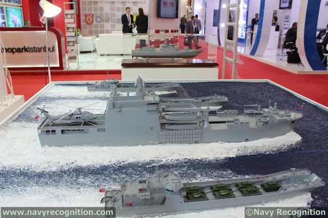 At the IDEF 2013 defense exhibition currently held in Istanbul, Turkey, Turkish shipyard ADIK (Anadolu Shipyard) is showcasing its Landing Ship Tank project. The project consists in a locally produced new generation fast amphibious vessel of upper-intermediate size designed to meet operational requirements of Turkish Naval Forces Command.