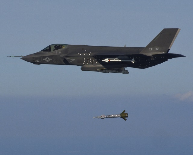 The Navy variant of the F-35 executed the first airborne separation test of an inert weapon on 21 October. Marine Corps test pilot Capt Justin Carlson flew the F-35C test aircraft known as CF-2 over an Atlantic test range when he released the 500-pound inert Guided Bomb Unit-12 (GBU-12) Paveway II laser-guided weapon from an internal weapons bay. With Monday's weapons separation, all three F-35 variants have released ordnance from their weapons bays.
