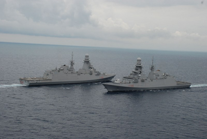 Italian Navy's two variants of the FREMM: ASW FREMM Carlo Margottini (background) and General Purpose FREMM Carlo Bergamini (foreground). Italian Navy picture.