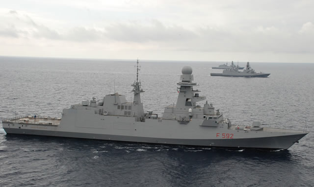 On 26 September 2013, in La Spezia bay, a great day occurred for OCCAR, OSN and the Italian Navy. Three IT FREMM ships, ITS Carlo BERGAMINI (already delivered to the Italian Navy and now engaged in completing some minor works after the official acceptance by the Italian Navy on 29 May 2013), Virginio FASAN (engaged in Platform and Combat system preparatory trials for the delivery to the Navy) and Carlo MARGOTTINI (at her first sea going) were together at sea.