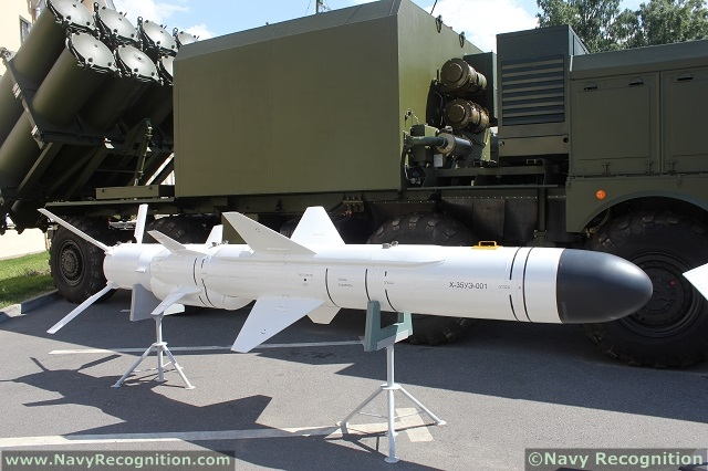 The Russian made 3M24 Uran subsonic anti-ship missile can be launched from helicopters, surface ships and coastal defense batteries. It has a range of up to 250 kilometers (135 nautical miles) and carries a 145-kilogram high explosive warhead.