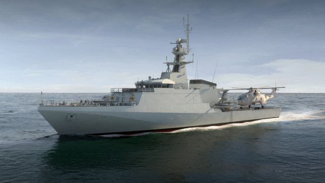 Production of the UK Royal Navy's new Offshore Patrol Vessels (OPVs) has started today, with the first steel cut at BAE Systems in Glasgow. Bernard Gray, the Ministry of Defence's (MoD) Chief of Defence Material, formally started construction by operating the plasma steel cutting machine that began shaping the steel for the first of three new ships to be built at the company's facility in Govan.