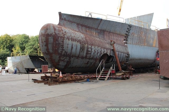 Sections of the French Navy future B2M vessel during assembling at PIRIOU in October 2014