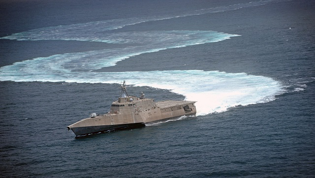 The littoral combat ship USS Independence (LCS 2) conducting full power propulsion and maneuvering tests in the Pacific Ocean off the coast of San Diego. (file U.S. Navy photo by Mass Communication Specialist 2nd Class Daniel M. Young/Released)