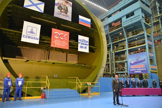 The sixth Borei-class nuclear-powered ballistic missile submarine (SSBN) was laid down on Friday during a ceremony at the Sevmash shipyard in Severodvinsk, northern Russia. (Sevmash is part of OCK the United Shipbuilding Corporation). Russian Deputy Prime Minister Dmitry Rogozin attended the ceremony.