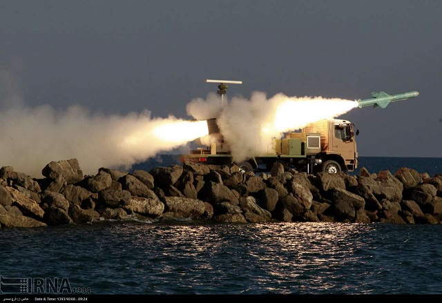 Noor anti-ship missiles are launched from mobile coastal batteries during the large scale exercise