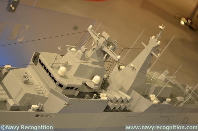 Based on a scale model of the MEKO A-200 AN frigate on display on the CMN/Privinvest booth during Euronaval 2014, the new class of frigate is set be heavily armed: