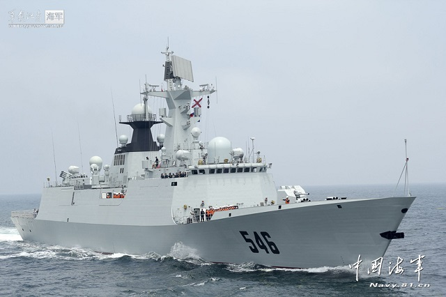 "The Type 054A frigate (Jiangkai II class) ""Yancheng"" of the Navy of the Chinese People's Liberation Army (PLAN) completed its second escort mission for maritime transportation of Syria's chemical weapons on January 27, 2014."