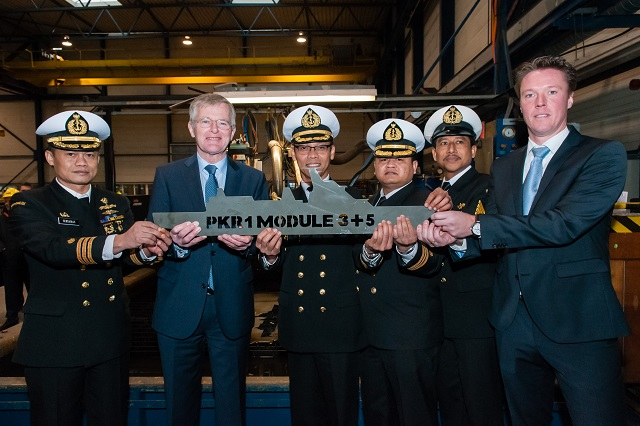 In June 2012, the Ministry of Defence of Indonesia and Damen Schelde Naval Shipbuilding (DSNS) signed the contract for the first SIGMA 10514 PKR Frigate. In accordance with the agreed planning for the construction of this frigate, the Steel Cutting Ceremony took place simultaneously on 15 January 2014 at PT PAL (Persero) Shipyard in Surabaya (Indonesia) and DSNS in Vlissingen (the Netherlands).
