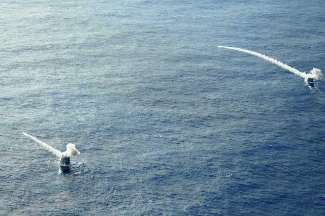 On June 24th, 2014, two Floreal class surveillance frigates (the Floréal F-730 and the Nivôse F-732) based in Reunion island and belonging to the French Navy Indian Ocean fleet, conducted a simultaneous firing exercise with their MM38 Exocet anti-ship missiles.