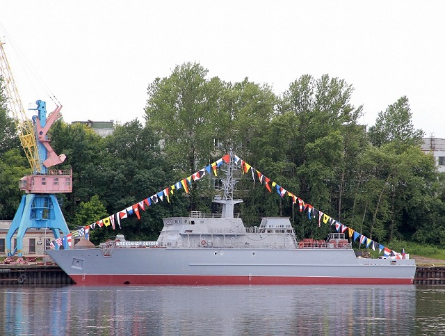 The lead mine countermeasures vessel (MCMV) of the new project 12700, the Alexander Obukhov (named after a famed Soviet fleet boat commander and hero) was launched during a ceremony at Sredne-Nevsky Shipyard in St Petersburg. The hull of this new class is made of composite materials in order to reduce electromagnetic interference (which could trigger the mines) and eases maintenance of the ship's structure.