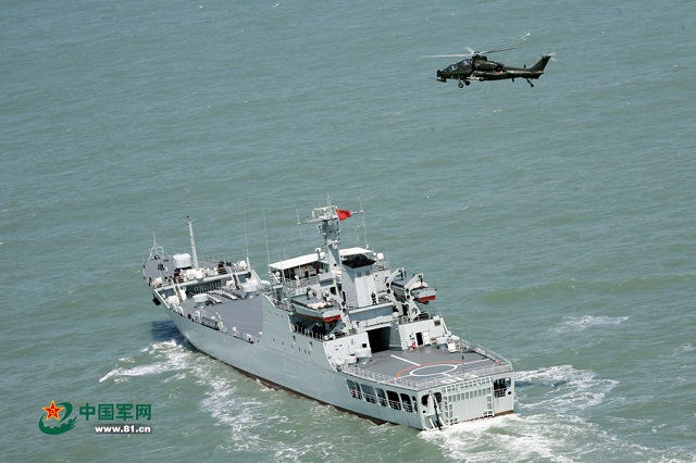 "The Chinese Army (PLA) released some interesting pictures showing a Z-10 attack helicopter conducting deck trials at sea with a Chinese Navy (PLAN) Type 072A-class landing ship (NATO designation Yuting-III-class). The helicopter reportedly belongs to the 5th helicopter brigade of the 1st Army of the Nanjing Military Region while the vessel is from the East Sea Fleet of the PLA Navy (hull number 913 ""Baxian Shan"")."