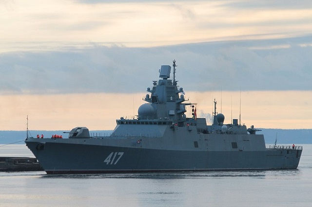"The new generation project 22350 frigate ""Admiral Gorshkov"" (hull number 417) for the Russian Navy started sea trials in the Gulf of Finland. This new class, intended to replace the soviet era Krivak class, is designed by the Severnoye Design Bureau of Saint Petersburg."