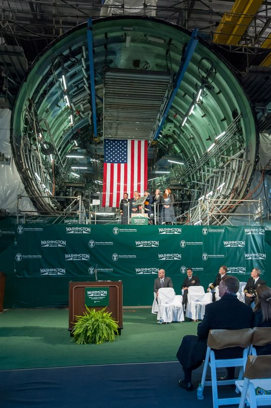 With weld shields in place and sparks flying, Newport News Shipbuilding, a division of Huntington Ingalls Industries, hosted a keel-laying ceremony Saturday for the future USS Washington (SSN 787), a Virginia-class submarine named for the Evergreen State.