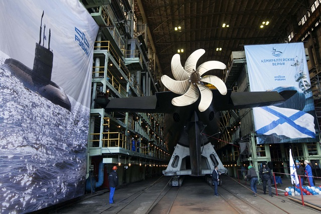 """Krasnodar"" (B-265), the fourth Project 636.3 (or Varshavyanka class) diesel-electric submarine (SSK) was launched by Russian shipyard JSC ""Admirality Shipyards"" in St. Petersburg on April 25, 2015. The submarine was laid down in February last year and should be commissioned into the Russian Navy Black Sea Fleet this year."