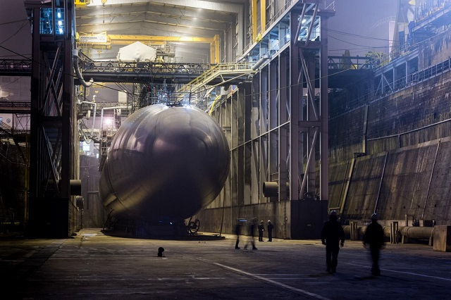 Le Triomphant SSBN during refit at the DCNS submarine shipyard in Cherbourg.