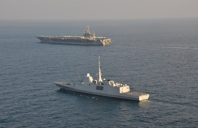 The French Navy (Marine Nationale) released pictures showing the brand new Aquitaine class FREMM Frigate Provence sailing alongside USS Harry S. Truman (CVN 75) and the Charles de Gaulle in the Persian Gulf. Following a short port-of-call in Djibouti, the Provence frigate integrated the Truman Carrier Strike Group (CSG) (Task Force 58) on December 23rd, and crossed the Ormuz strait to enter the Gulf region on December 26th.