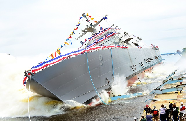 The Lockheed Martin-led industry team launched the nation's ninth littoral combat ship (LCS), Little Rock, into the Menominee River at the Marinette Marine Corporation (MMC) shipyard on July 18. The ship's sponsor, Mrs. Janee Bonner, christened Little Rock (LCS 9) with the traditional smashing of a champagne bottle across the ship's bow just prior to the launch.