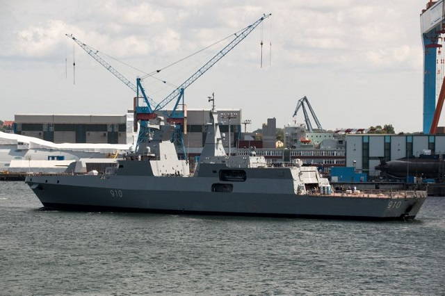 The first of two MEKO Frigates built by Germany's ThyssenKrupp Marine Systems (TKMS) in Kiel was officially commissioned on February 23 2016. The vessel nammed Harrad (meaning Detterent) was launched in early December 2014. Algeria ordered two frigates (with an option for two more) in March 2012. It is reported that the ship is due to arrive in Oran in Algeria in May 2016.