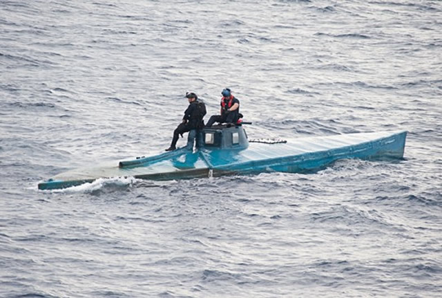 U.S. Customs and Border Protection Office of Air and Marine agents along with U.S. Navy and U.S. Coast Guard personnel intercepted a semi-submersible craft carrying more than 16,870 pounds of cocaine in the eastern Pacific Ocean on July 18.