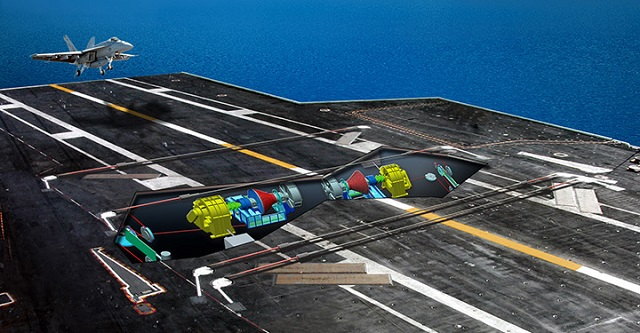 General Atomics (GA) was awarded an undefinitized contract action for the production of the Electromagnetic Aircraft Launch System (EMALS) and Advanced Arresting Gear (AAG) for the future CVN 79 aircraft carrier to be named John F. Kennedy. This contract is for the production of equipment to support installation of EMALS and AAG into CVN 79, the second of the Gerald R. Ford-class aircraft carriers. CVN 79 is scheduled to be delivered to the U.S. Navy in 2022.