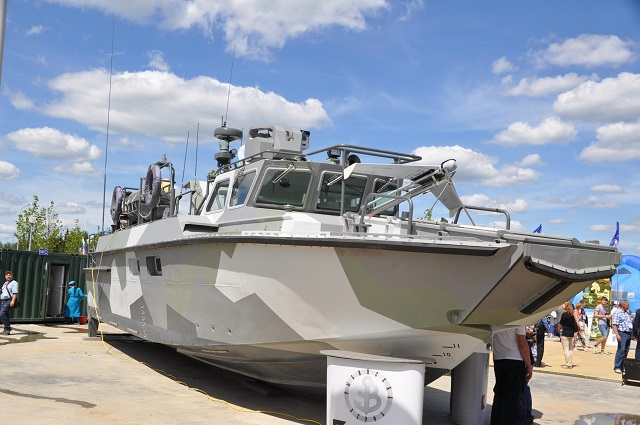 "Russian Shipyard ""Rybinsk Shipyard"" (in Yaroslavl region) was showcasing its BC-16 new high-speed landing craft (project 02510) for the Russian Navy during the large defense exhibition ""Army 2015"" held last week near Moscow. The BC-16 shares many similar design features with the famous CB90-class fast assault craft designed by Sweden's Dockstavarvet."