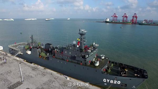 The Chinese Ministry of Nationa Defense announced that a new logistics support ship of the Chinese People's Liberation Army (PLA) began its service in Sansha City, south China's Hainan Province, on the morning of November 23, 2015. The supply ship (hull number GY820) is the largest of its kind in the PLA Army with a maximum displacement of 2,700 tons. The 90 meters long and 14.6 meters wide vessel will be based in the South China Sea region to support replenishment operations.