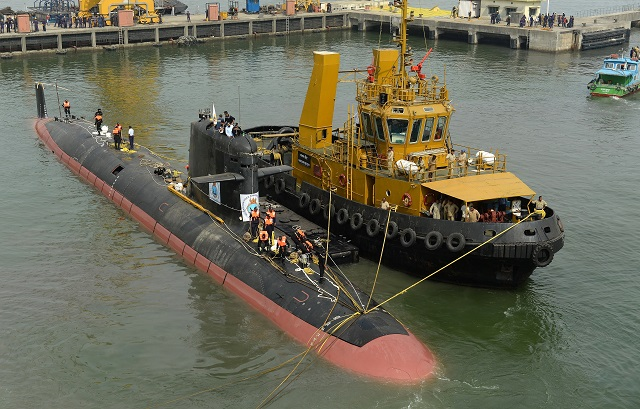 DCNS released high definition pictures of Klavari, the Scorpene class diesel-electric submarine (SSK) for the Indian Navy. Built by Indian shipyard Mazagon Dock Shipbuilders Limited, was launched in the water on 28th October 2015 in Mumbai.