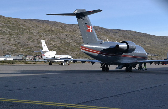 The French Navy announced that from August 26 to September 1st, a Dassault Falcon 50M Maritime Surveillance Aircraft belonging to Flottille 24F was deployed to Kangerlussuaq in western Greenland with a Royal Danish Air Force Bombardier Challenger CL-604. This deployement was a first for the French Navy naval aviation.